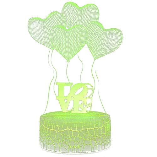Luces de noche LED 3D, 7 colores cambiantes, regalos de San Valentín (cuatro corazones), recargable por USB, luces de noche, para decoración de habitación del hogar o regalo de amigos.