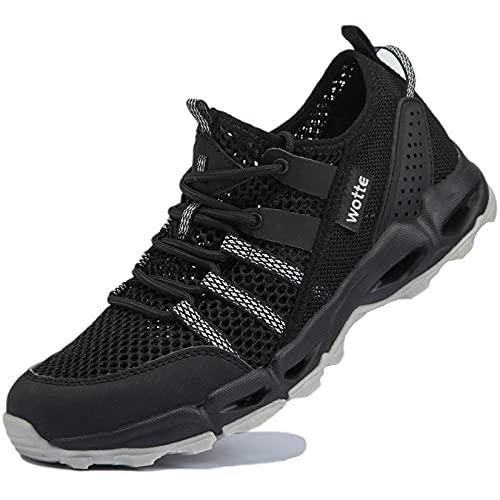 Ranberone Zapatos de Deporte al Aire Libre Antideslizantes para Mujer Zapatos de Agua de Malla Transpirable Zapatos de Senderismo Zapatos para Caminar de Verano Negro 43