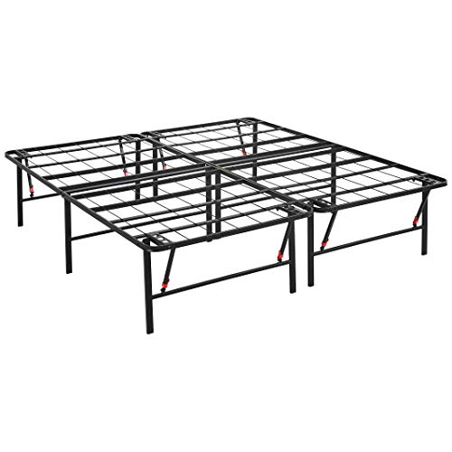 AmazonBasics Foldable Metal Platform Bed Frame 18 Inch Height for Under-Bed Storage - Tools-free Assembly, No Box Spring Needed - King