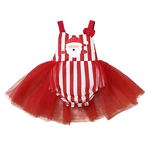 Newbron Pretty Dress for 3-18 Months Infant Baby Girls Christmas Xmas Cartoon Santa Tulle Backless Romper Bodysuit Red