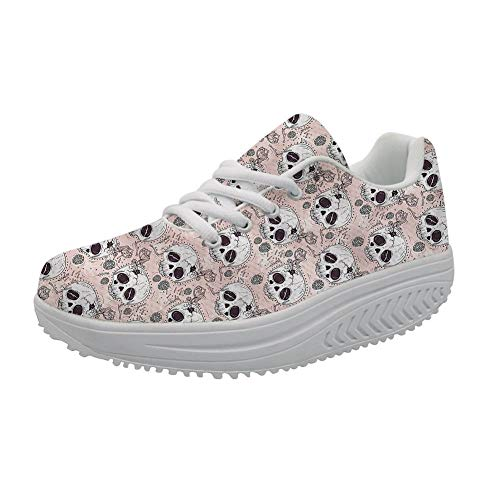 FOR U DESIGNS Pink Flexible Tennis Womens Swing Shoes,Casual Nurse Wedges Sneaker with Cartoon Skull Head US 9