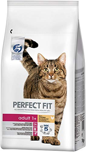 Perfect Fit Adult 1+ – Trockenfutter für erwachsene Katzen ab 1 Jahr – Reich an Huhn – Unterstützt die Verdauung – 1 x 7 kg