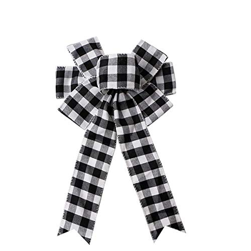 Black White Buffalo Plaid Bow Christmas Wreath Bow Holiday Christmas Bows for Christmas Tree Topper Bow Front Door Wreath Christmas Decorations