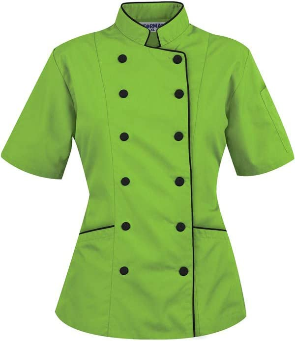 For Bust 32-33 Short Sleeves Womens Ladies Chefs Coat Jackets By Uniformates Grey, XS