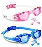 Kids Swim Goggles 2 Pack Swimming Goggles Anti Fog Anti-UV for Child Teens