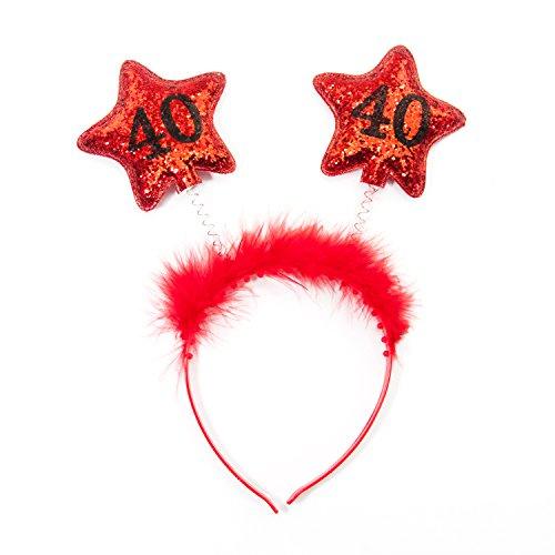 Oblique-Unique® Haarreifen 40. Geburtstag Jubiläum Rot Glitzereffekt