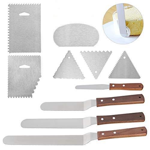 OFNMY Winkelpalette Set Tortenmesser für gleichmäßige Überzüge und Glasuren von selbstgemachten Kuchen, Torten und Cupcakes(4 Stück Tortenmesser+6 Stück Schaber)