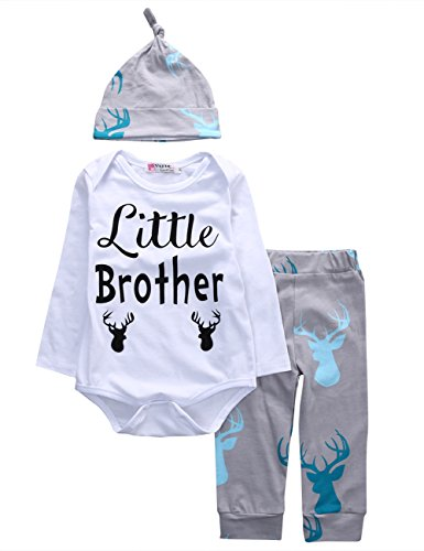 Price comparison product image Newborn Baby Boys Long Sleeve Deer Little Brother Romper Bodysuit Long Pants Hat Outfit Clothes Set (80(6-9M),  White+Grey)