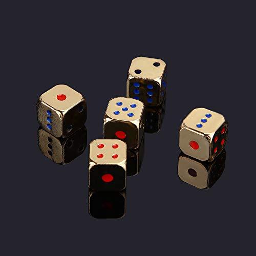 TGWCJDBB Dadi di Gioco Standard,Creativo 5 Pezzi/Set Metallo Solido Oro e Argento Ktv Mahjong Dadi Casino Party Set da Divertimento in Oro