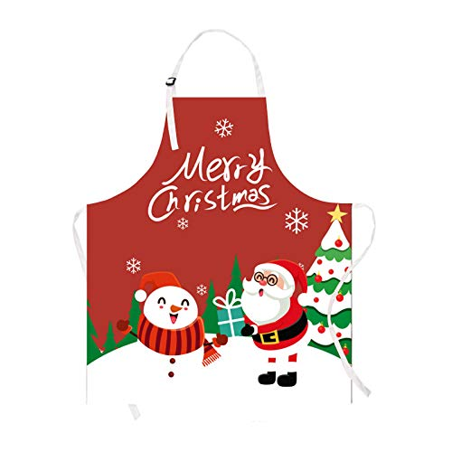 Claswcalor Merry Christmas Kids Apron, Cute Snowman Apron for Girls Boys Toddler Children, Red Waterproof Kitchen Apron for Kids Cooking, Baking, Crafting, Gardening, BBQ, 19.7' × 23.6'