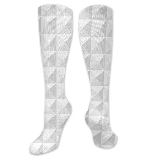 NGMADOIAN Calcetín de compresión, calcetines de tubo largos hasta la rodilla largos geométricos blancos y blancos para correr, deportes deportivos de fútbol -50cm
