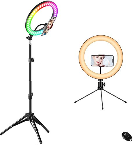 10' Ring Light with Stand, Fauna 10 Colors RGB LED Ring Light with Two Tripod Stand and Phone Holder...