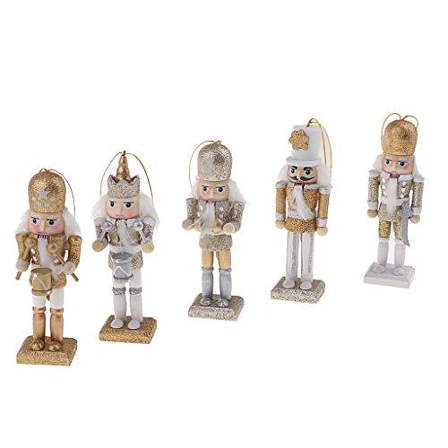Almencla 5X Figuras de Soldado Cascanueces de Madera de 12 Cm Modelo Decoración de Muñeca de Marioneta
