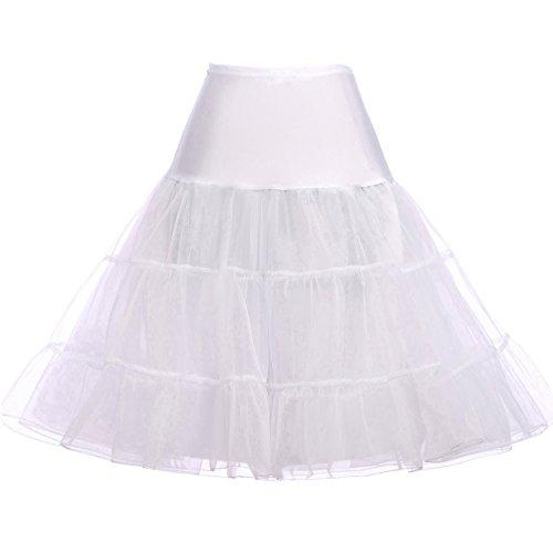 Grace Karin - Falda tipo enagua, estilo años 50 Knee Length-White Small