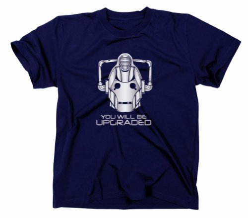 #1 Cybermen You Will Be Upgraded T-Shirt, Doctor Who Tardis Cyberman, XXL, Navy