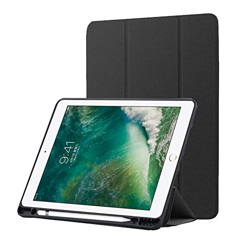 Capa para iPad Pro 10,5 polegadas com suporte para lápis, capa traseira de TPU (poliuretano termoplástico) ultra fina, forro de microfibra, capa inteligente com suporte triplo com função hibernar/despertar automática, proteção para Apple iPad Pro 10,5, preta