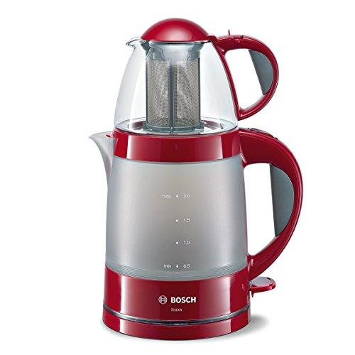 Bosch TTA2010 Teebereiter, Wasserkocher 2 L, Teekanne 0,7 L, Wahlschalter Wasser aufkochen/heiß halten, 1785 W, rot