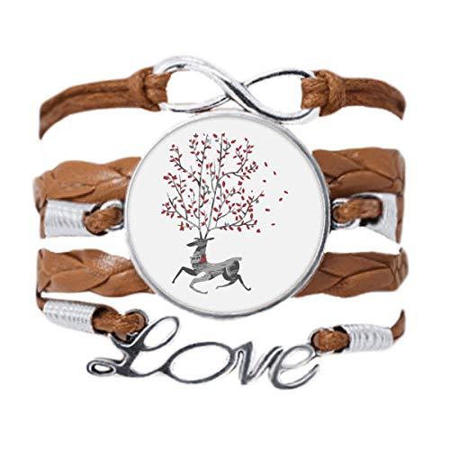 DIYthinker Reindeer Christmas Artistic Effect Hand-Painted Bracelet Love Chain Rope Ornament Wristband Gift