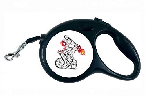 Druckerlebnis24 Rollleine - Astronaut Fahrrad Rakete Feuer - 5M Hundeleine Nylon Ergonomischem rutschfest-Griff Einziehbar