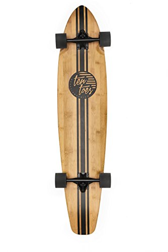 Ten Toes Board Emporium 2508 ZED Bamboo Longboard Skateboard Cruiser, 44', Black Pipeline