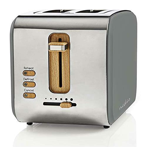 TronicXL ECO Toaster Holz Design Applikationen + grau Soft-Touch + Edelstahl silber - 6-Stufen - 900W - Designer Retro Holzdesign