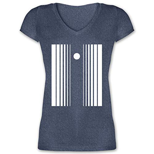 Karneval & Fasching - Doppler-Effekt - L - Dunkelblau meliert - Sheldon - XO1525 - Damen T-Shirt mit V-Ausschnitt