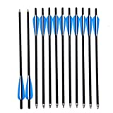 Jocoo 20' Carbon Crossbow Bolts Hunting Archery 20 Inch Arrows with 4' vanes and Replaced Arrowhead/Tip (12 Pack)