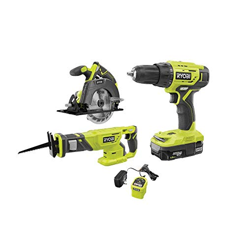 Ryobi 18V ONE+ Lithium-Ion Cordless 3-Tool Combo Kit with (1) 1.5 Ah Battery and Charger