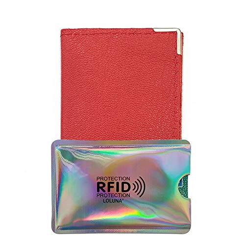 LOLUNA® Porte-Carte Simple 1 à 2 Carte + étui Carte RFID, Compact en Cuir chèvre Made in France, Existe en Plusieurs Couleur pour Homme et Femme - Rouge