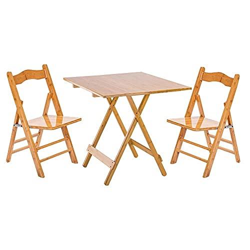 LNNL Mesas y sillas portátiles Plegables de Madera Maciza Inicio Picnic al Aire Libre Instalación Gratuita Mesas cuadradas y sillas (Color : Primary Color, Size : 60 * 60 * 55cm)