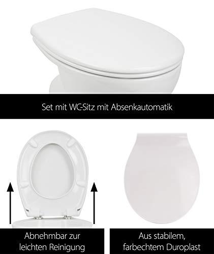 Stand-WC | Spülrandlos | Inklusive WC-Sitz | Tiefspüler | Abgang waagerecht | Weiß | Toilette | Spülrandloses WC | Klo | Toilettensitz | Stand-Wc | Design | Keramik | Modern | Hygiene - 5