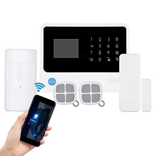 inalámbrico WiFi Alarma Sistema, gsm antirrobo Panel táctil Alarma Kit para Inteligentes Seguridad hogares Soporte para marcación automática, con Sirena Exterior