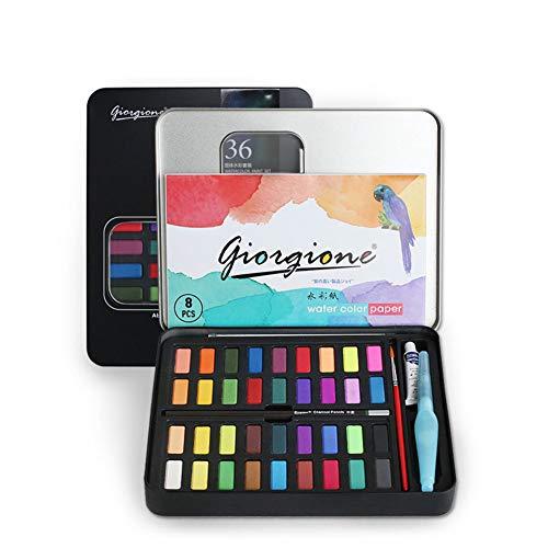 AKDSteel - Juego de 8 cajas de pintura para acuarelas (36 colores sólidos)