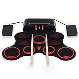 GJQDDP Kit Batería Electrónica, Roll Up Drum Practice Pad Recargable Altavoces duales incorporados de 3W / Pedales de batería/Baquetas/Regalo de cumpleaños Festivo para niños