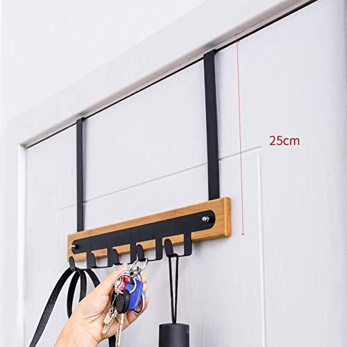 LEYOUDIAN Kleiderständer aus Metall Bambusmaterial Kleiderbügel Stamping Breite Helle Toraufhängung (Color : Black, Size : 41x4.5x25cm)