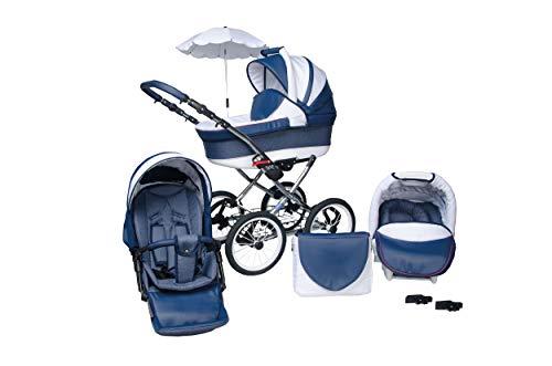 SKYLINE Klassisch Retro Stil LUX Kombi-Kinderwagen Buggy 3in1 Reise System Autositz (Isofix) (Blau/14