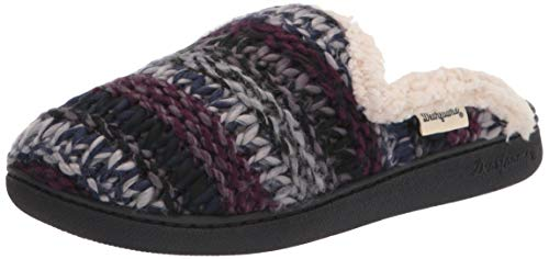 Dearfoams Women's Erin Multicolored Textured Knit Scuff Slipper, Black, Small
