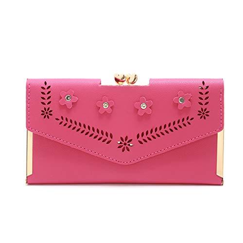 Faliya Hollow Flower Wallet Tri Pieghevole Multi Card Case Long Clutch Borsa per Viaggi Shopping, Rosa Rosso