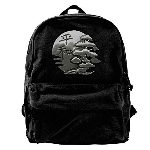 Mochila de lona bonsái y sol con paz, japonesa, para gimnasio, senderismo, portátil, bolsa de hombro para hombres y mujeres