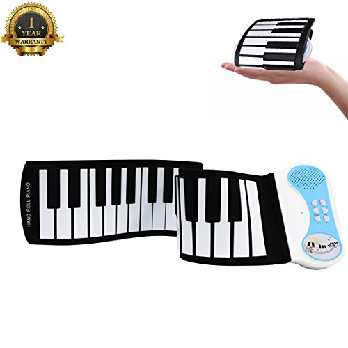 Portable Roll Up Piano Kids Practice Piano Keyboard 37 Keys Flexible Electronic Battery USB Powered Piano Built-in Speaker Microphone Foldable Piano Musical Instrument for Kids Boys Girls Gift