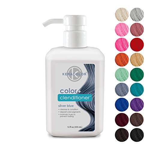 Keracolor Clenditioner Color Depositing Conditioner Colorwash, Silver Blue, 12 fl oz