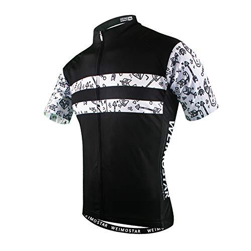 Cycling Jersey Men's Bike Jersey Bicycle Tops Pro MTB Mountain Shirt Black White