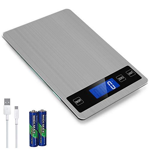 SMBOX - Báscula digital recargable de cocina (15 kg) - Báscula electrónica de peso de alimentos para cocinar hornear, pantalla LCD, botón táctil inteligente para el hogar, cocina, oficina KS-303