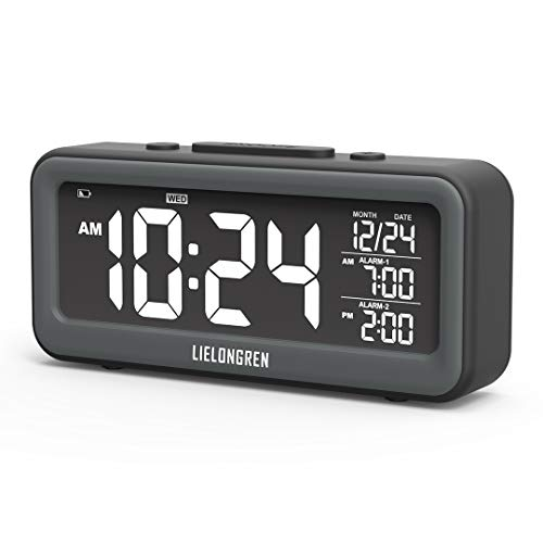 Small Digital Alarm Clock with USB Charger, 95dB Loud Alarm, Dimmable LED Backlight, Dual Alarm, Easy to Use, Battery Backup, Best for Heavy Sleepers, Bedside, Bedroom, Desk