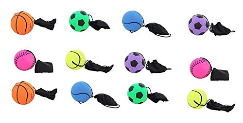 itisyours 12 pcs Return Rubber Sport Ball on Nylon String with Wrist Band for Exercise or Play