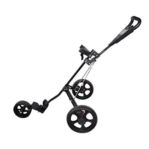 DWXN Golf Trolley Push con 3 Ruedas Golf Cart Negro Aleación de Aluminio Carros Golf