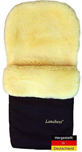 Lammfell Fußsack für Kinderwagen von LANABEST. Schadstoffarm. Hergestellt in Deutschland. Echtes Merino Lammfell, medizinisch gegerbt, waschbar, Öko-Tex-Qualität. Geschenkqualität! Farbe: dunkelblau