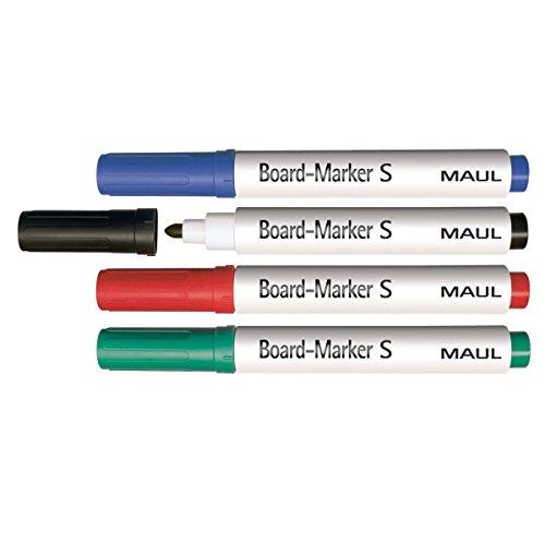 Maul Boardmarker S, Rundspitze 1.5 - 2.0 mm, 4 Farben, Trocken Abwischbar, 4 Stück