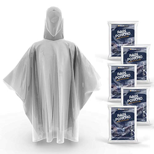 Hagon PRO Disposable Rain Ponchos for Adults (5 Pack)