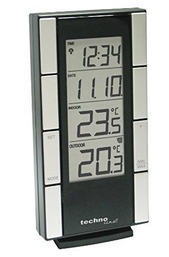 Technoline WS 9765-IT klassische Wetterstation mit Funkuhr, Innen- und Außentemperaturanzeige, inklusive Außensender TX29-IT, schwarz-silber, 3 x 8,2 x 16 cm